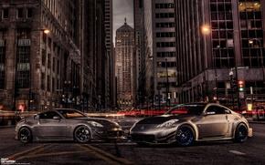 Картинка car, ночь, город, тюнинг, tuning, автообои, nissan 350z