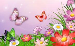 Картинка трава, бабочки, цветы, природа, рисунок, вектор