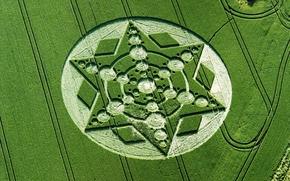 Обои круги на полях, НЛО, поле, природа