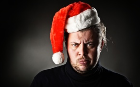 Картинка Christmas, angry, beard, christmas hat