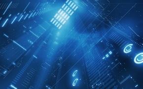Обои свет, синий, информация, данные, шихта