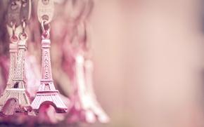 Картинка Париж, Эйфелева башня, Paris, розовые, золотые, La tour Eiffel, брелоки