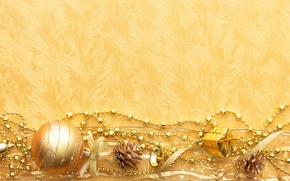 Картинка цепочки, новый год, ленточки, шишки, игрушки, золото, обои