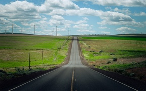 Картинка дорога, поле, ветряки