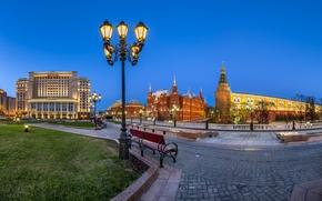 Картинка фонари, Москва, Кремль, Россия, Манежная площадь
