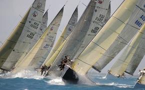 Картинка волны, ветер, гонка, яхта, маями, регата, флорида