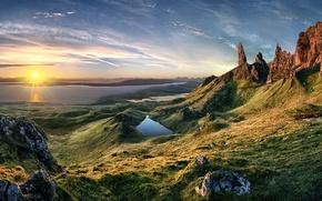 Картинка вода, солнце, камни, скалы, вид