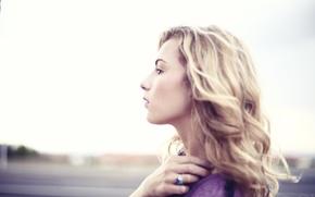Картинка girl, woman, model, blonde, female, head, Rachel Yampolsky