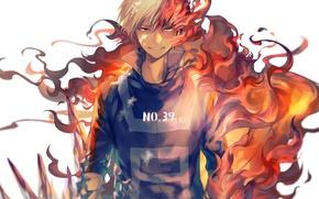 Картинка огонь, аниме, арт, парень, Boku no Hero Academia, Геройская академия