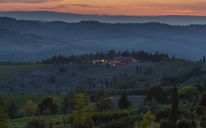 Картинка деревья, закат, огни, холмы, поля, дома, вечер, Италия, сумерки