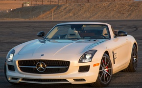 Обои mercedes-benz, sls, 63, amg, gt, roadster, белый, мерс