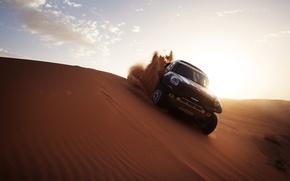 Картинка Песок, Дюна, Мини, Свет, Dakar, Mini, Внедорожник, Ралли, Гонка, X-raid, Mini Cooper, 2014, Авто, Черный, ...