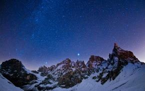 Картинка горы, ночной, небо, звезды, пейзаж, созвездия