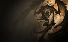 Обои тьма, Дракон, всадница