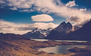 Картинка облака, снег, горы, озеро, пара