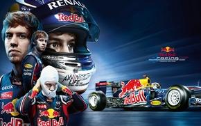 Картинка Обои, Формула 1, Formula 1, Red Bull, Vettel, Болид, Wallpaper, Чемпион, Sebastian