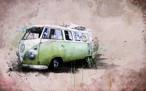 Картинка стиль, креатив, Volkswagen, Creative, хиппи - фургон, Transporter 1 Samba BUS