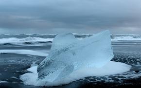 Картинка холод, лед, волны, пена, берег