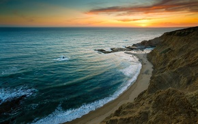 Обои море, волны, скалы, небо, берег, пляж, закат