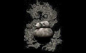 Обои узор, луна, черный, кошак