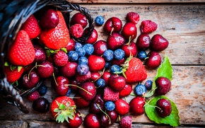 Картинка капли, вишня, ягоды, еда, черника, клубника