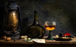 Картинка карты, бокал, бутылка, лампа, трубка, Indulgence