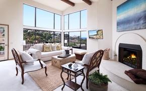 Картинка мебель, диван, Design, особняк, Interior, Living, камин, дизайн