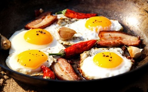 Картинка мясо, перец, яичница, бекон, egg, meat, pepper, bacon