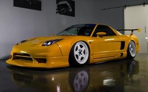 Картинка yellow, Acura, NSX, white. wheels