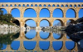 Обои небо, река, деревья, мост, опора, арка