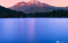 Картинка закат, озеро, гора, вершина, photographer, Kenji Yamamura