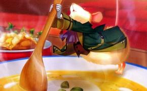 Картинка мышь, тарелка, костюм, ложка, суп, art, visual novel, miko, beast master and prince, klaus