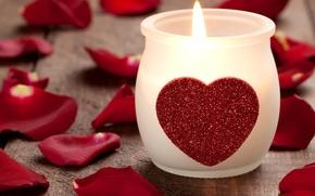 Картинка сердце, роза, свеча, лепестки, форма, Heart candle