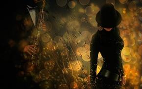 Картинка девушка, капли, саксофон, музыка дождя
