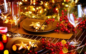 Картинка зима, огни, стол, елка, приборы, Новый Год, бокалы, Рождество, тарелки, посуда, декорации, Christmas, праздники, New …