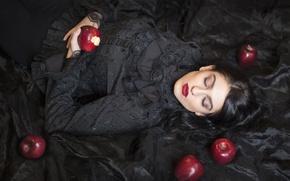 Обои яблоки, девушка, фон