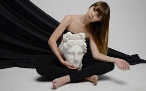 Картинка портрет, поза, взгляд, арт, модель, волосы