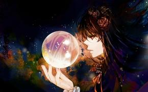 Картинка девушка, абстракция, шар, арт, профиль, сфера