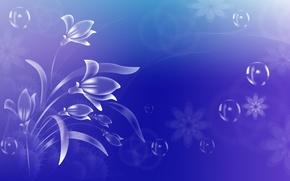 Обои на голубом фоне, пузырики, цветочки