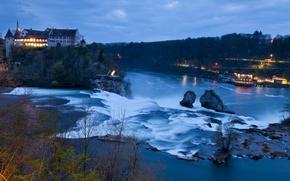 Картинка река, замок, водопад, Швейцария, Switzerland, Schaffhausen, Rhine Falls