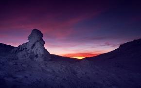 Обои зима, снег, закат, звезда