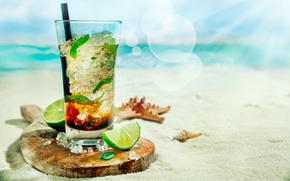 Картинка лед, море, пляж, коктейль, лайм, трубочка, ракушки, ice, beach, мята, sea, cocktail, lime, мохито, морские …