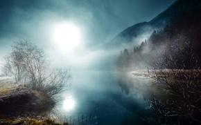Обои ночь, луна, туман, река