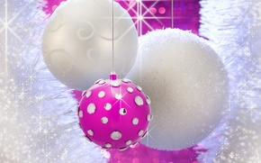 Картинка белый, розовый, праздник, блеск, новый год, блестки, стразы, white, new year, pink, елочные шары