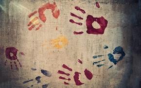 Обои пальцы, стена, отпечаток, colours, рука, отпечатки, текстура, краска