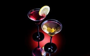 Обои маслины, лимон, алкоголь, коктейль