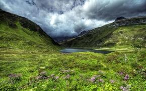 Картинка дорога, трава, облака, цветы, горы, озеро, Швейцария, склон, hdr, Lake Oberalp