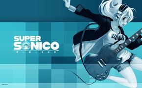 Обои гитара, super soniko, наушники, headphones, guitar