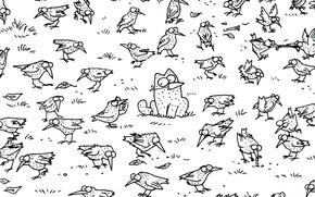 Картинка кот, точки, вороны
