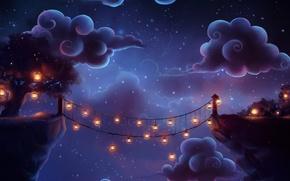 Обои облака, ночь, мост, дерево, арт, фонари, trenchmaker